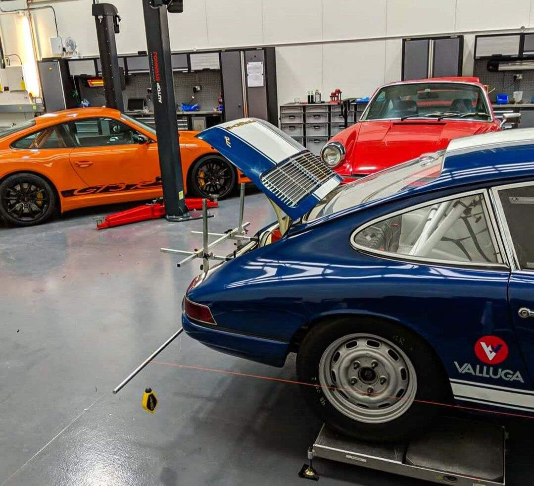cars being repaired and serviced at Valluga's silverstone garage